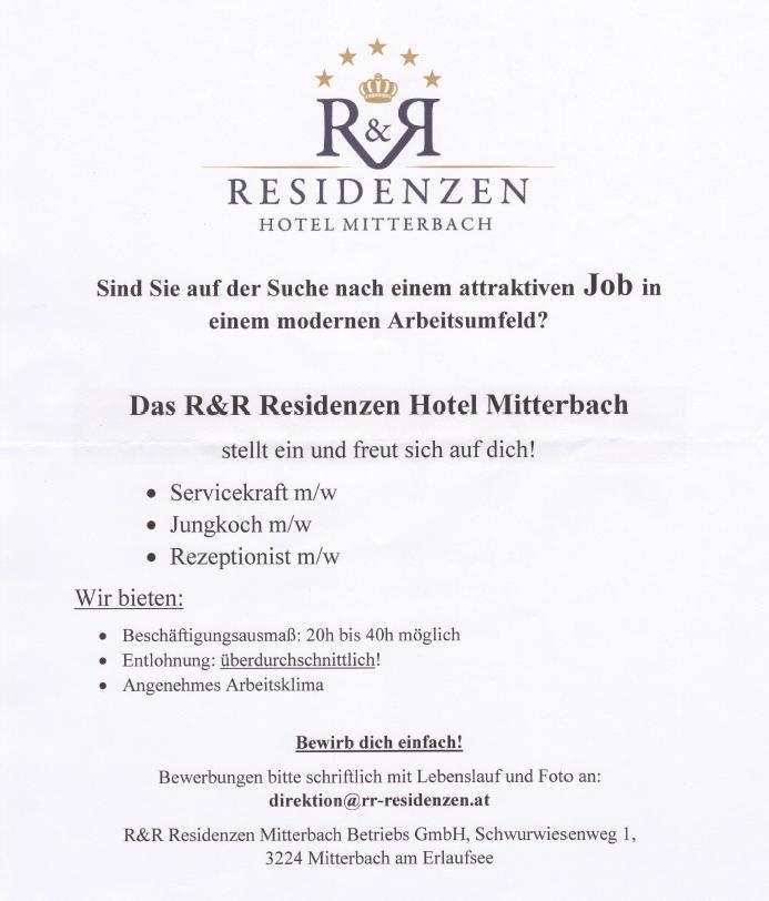R&R Residenzen - Stellenausschreibung